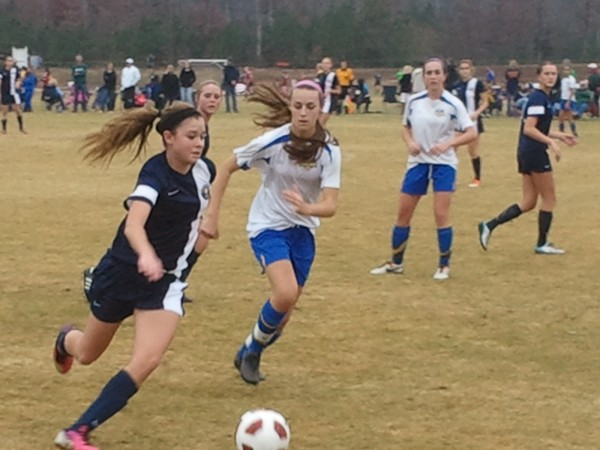 Mountaineer United Elite (in dark blue) vs. VSA Heat 97 Blue in U-16 play at the 2013 Capital Fall Classic.