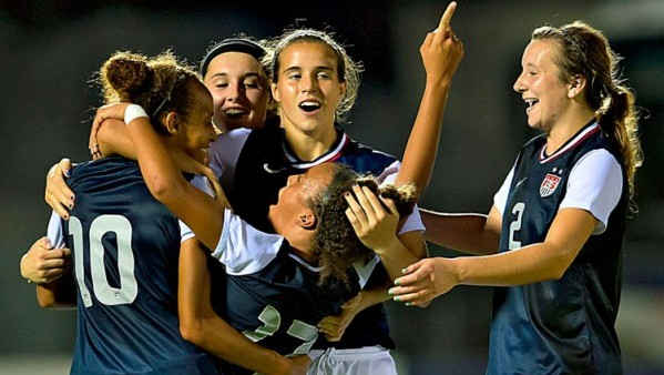 The U.S. U-17 Women celebrate during the 2013 CONCACAF U-17 women's championship. Photo property of CONCACAF.com
