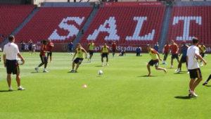 Real Salt Lake trains on its home field at Rio Tinto Stadium. (Photo: Liviu Bird/SoccerWire.com)