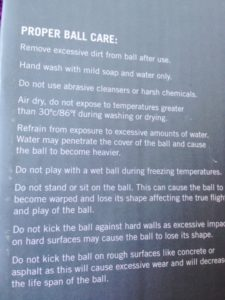 Ball Care Instructions
