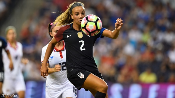 Kansas City, KS. - July 22, 2016: The U.S. Women's National team go up 3-0 over Costa Rica with a contributing goal by Mallory Pugh in first half play during a friendly match in preparation for the Olympics at Children's Mercy Park.